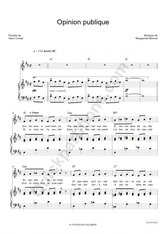 Partition piano Opinion publique - Edith Piaf