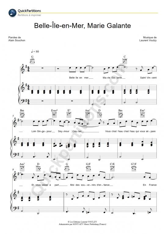 Partition piano Belle Ile en Mer, Marie Galante - Laurent Voulzy