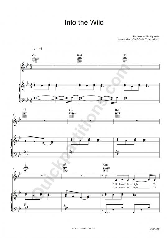 Partition piano Into the Wild - Cascadeur