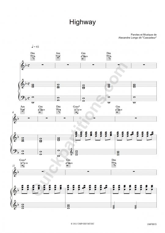 Partition piano Highway 01 - Cascadeur