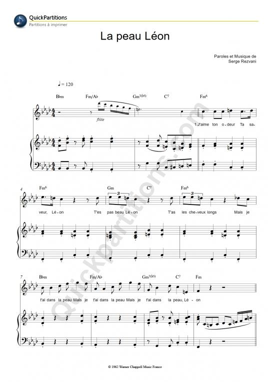 Partition piano La peau Léon - Jeanne Moreau