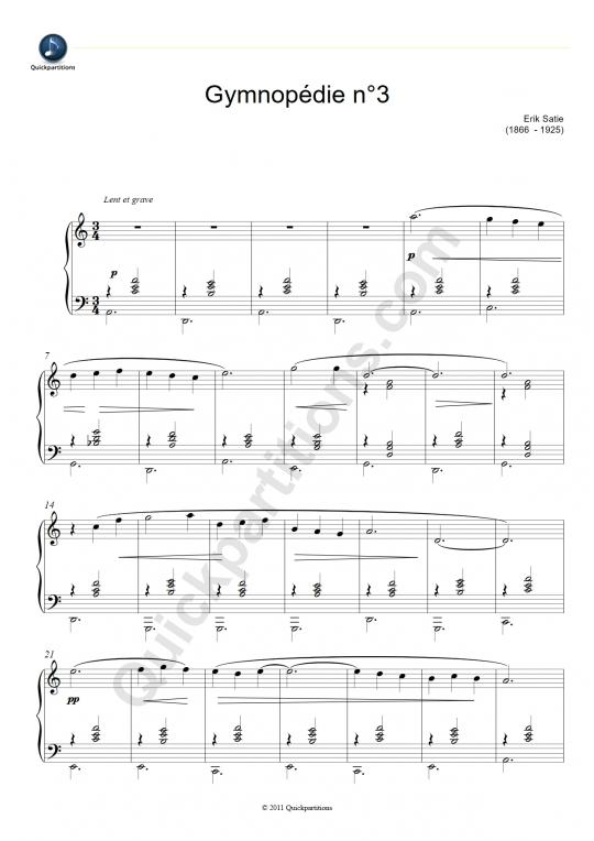 Partition piano Gymnopédie n°3 - Erik Satie