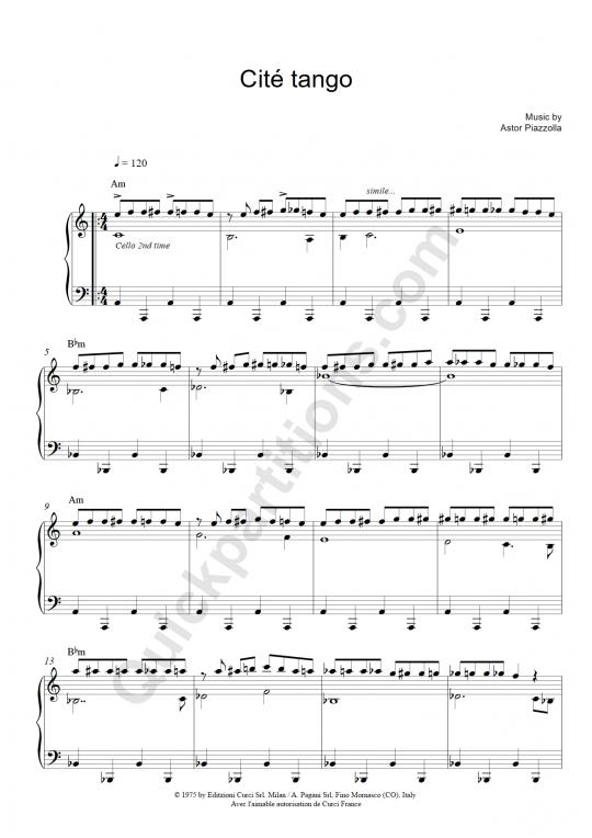 Partition piano et instrument solo Cité tango - Astor Piazzolla