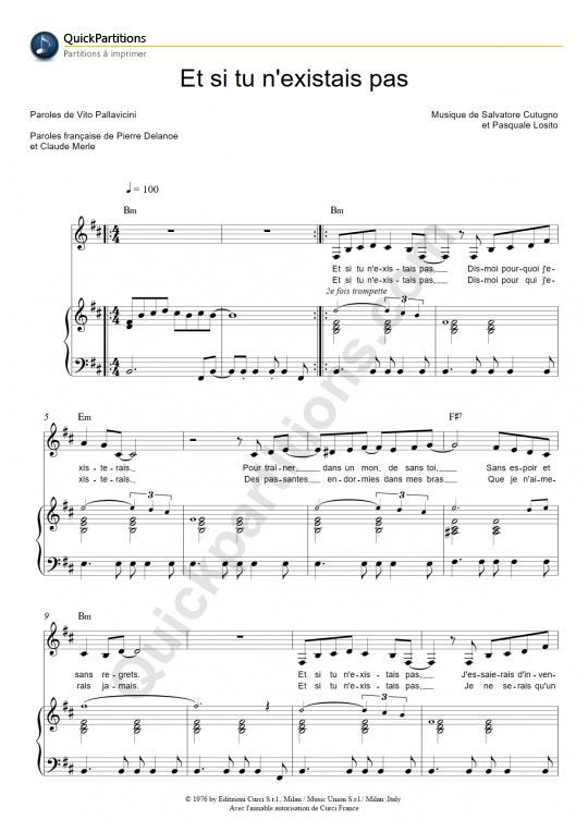 Partition piano Et si tu n'existais pas - Joe Dassin