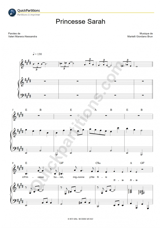 Partition Piano Princesse Sarah - Christina D'avena