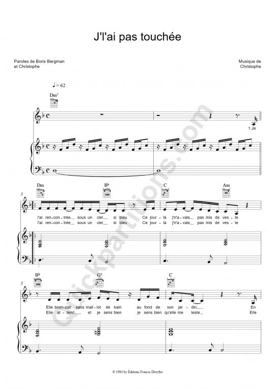Partition piano J'l'ai pas touchée - Christophe