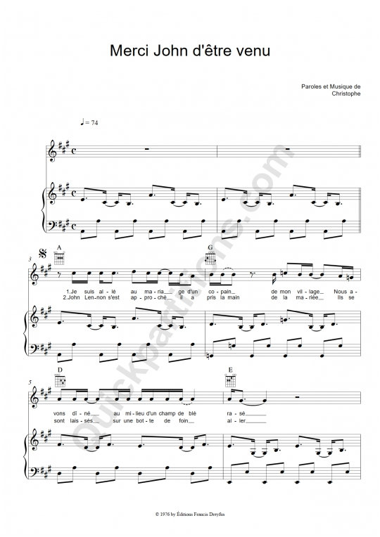 Partition piano Merci John d'être venu - Christophe