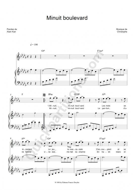 Partition piano Minuit boulevard - Christophe