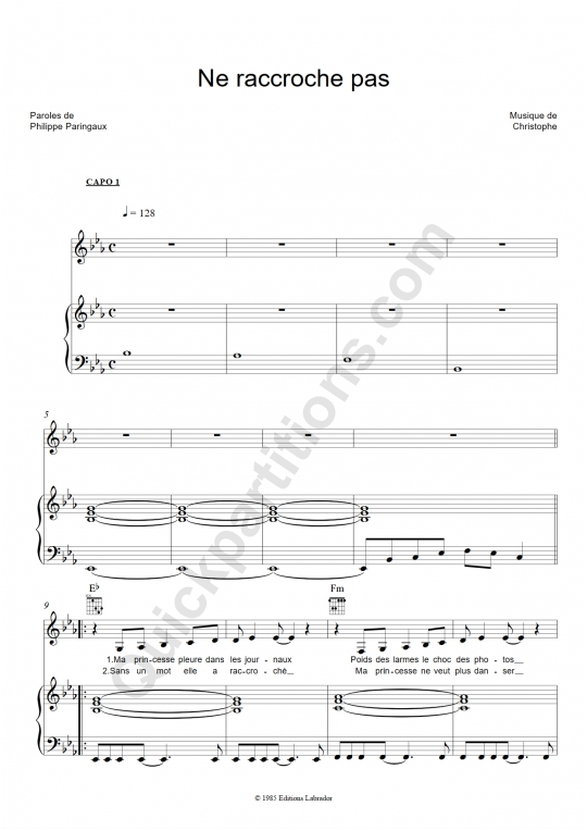 Partition piano Ne raccroche pas - Christophe