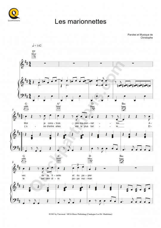 Les marionnettes Piano Sheet Music - Christophe