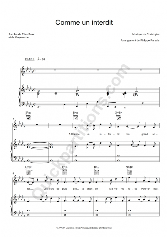 Comme un interdit Piano Sheet Music - Christophe
