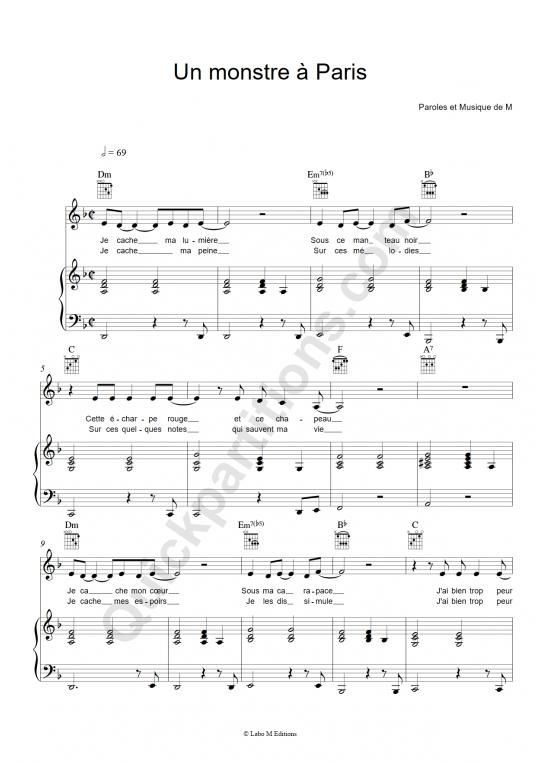 Partition piano Un monstre à Paris - Un monstre à Paris