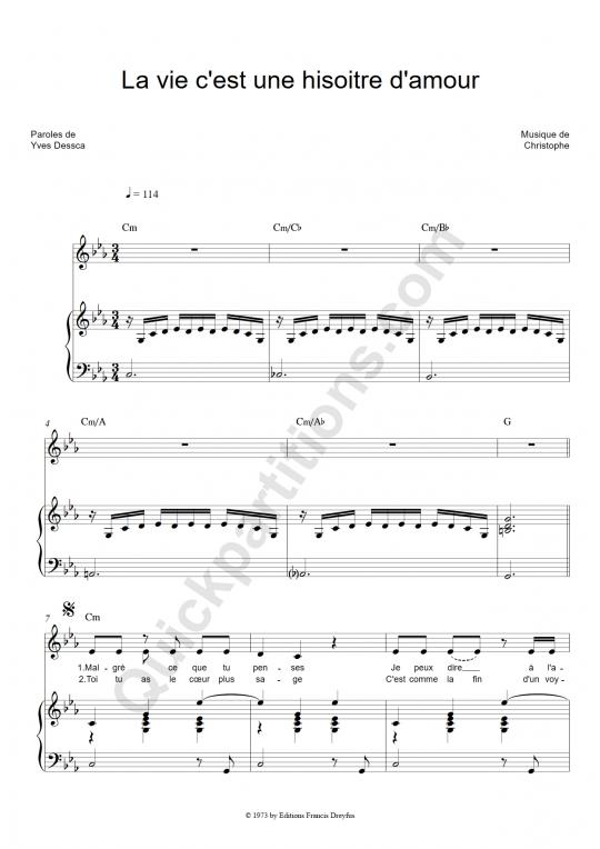 Partition piano La vie c'est une histoire d'amour - Christophe