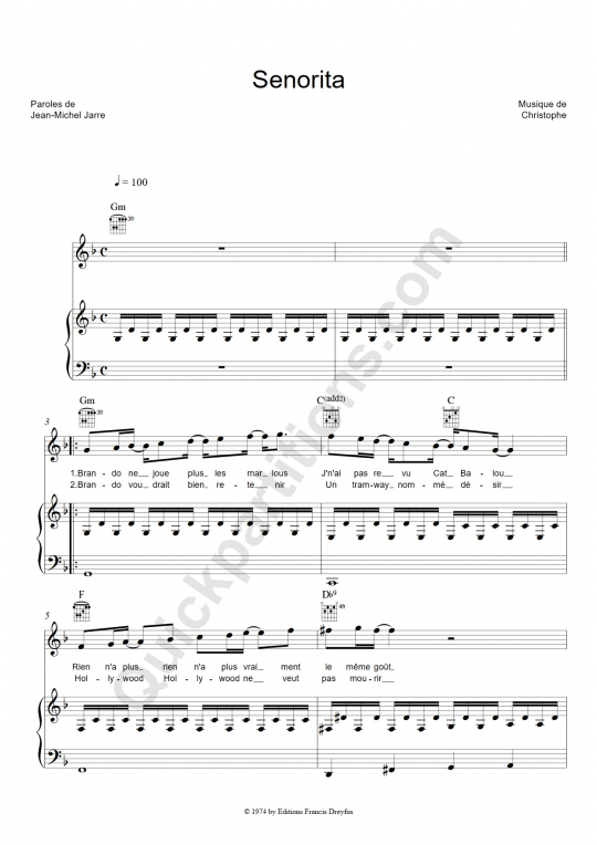 Senorita Piano Sheet Music - Christophe