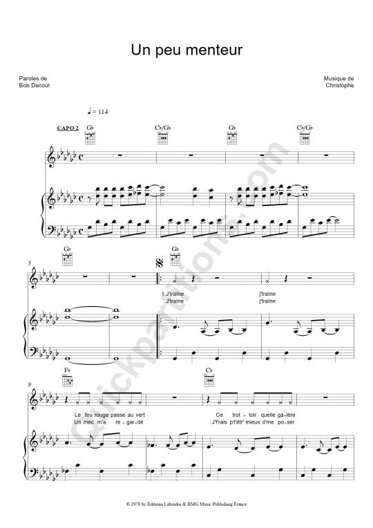 Partition piano Un peu menteur - Christophe