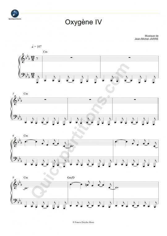 Partition piano Oxygène IV - Jean-Michel Jarre