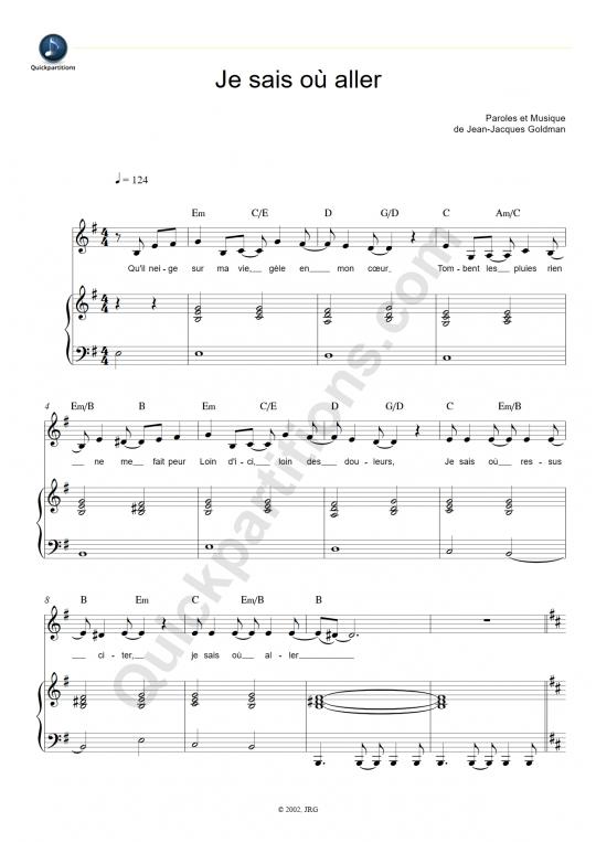 Je sais où aller Piano Sheet Music - Patrick Fiori