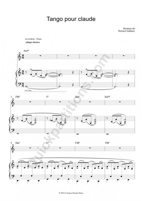 Tango pour Claude Piano and Solo Instrument Sheet Music - Richard Galliano