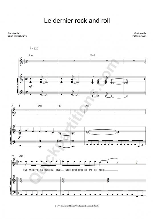 Le dernier rock and roll Piano Sheet Music - Patrick Juvet