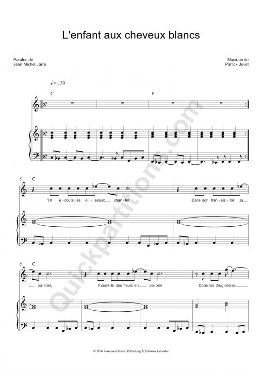 L'enfant aux cheveux blancs Piano Sheet Music - Patrick Juvet