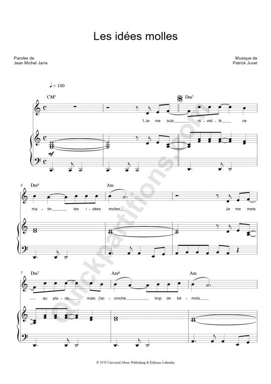 Les idées molles Piano Sheet Music - Patrick Juvet