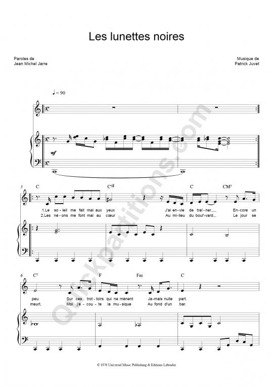 Les lunettes noires Piano Sheet Music - Patrick Juvet