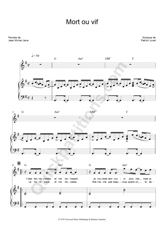 Mort ou vif Piano Sheet Music - Patrick Juvet