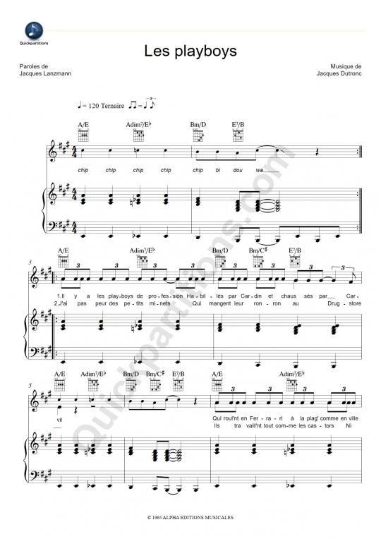 Partition piano Les Playboys - Jacques Dutronc