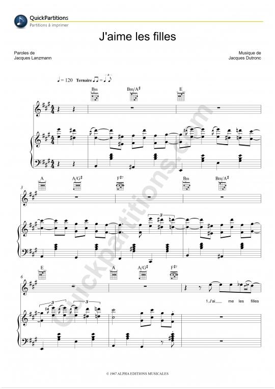 Partition piano J'aime les filles - Jacques Dutronc
