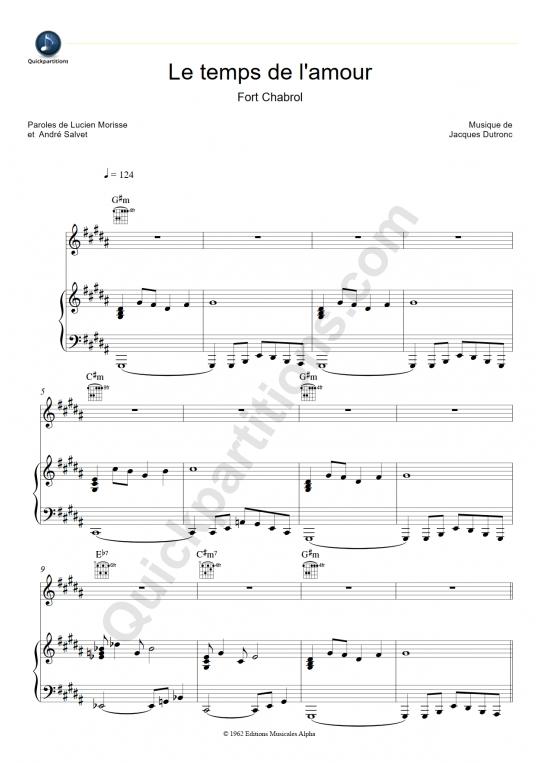 Le temps de l'amour (Fort Chabrol) Piano Sheet Music - Françoise Hardy