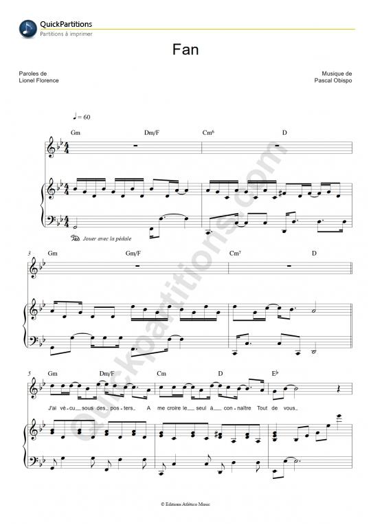 Partition piano Fan - Pascal Obispo