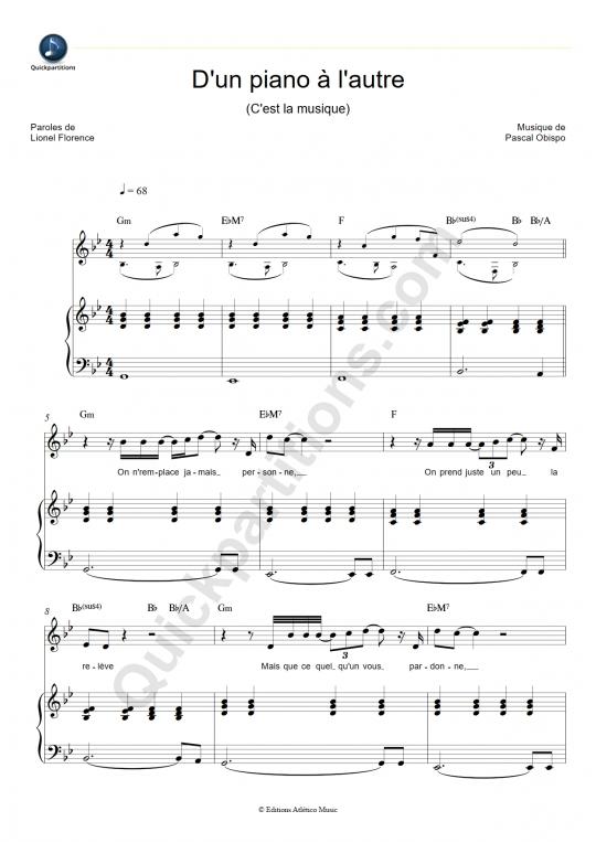 Partition piano D'un piano à l'autre (C'est la musique) - Pascal Obispo