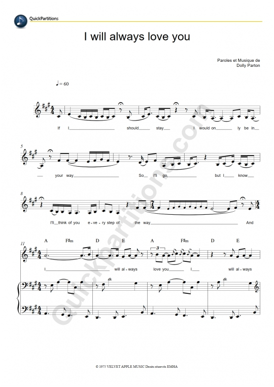 I Will Always Love You Piano Sheet Music - Whitney Houston