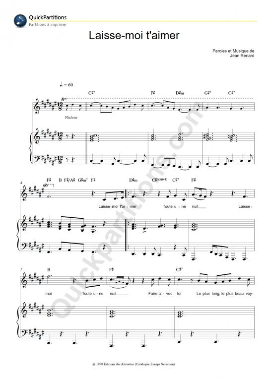 Partition piano Laisse moi t'aimer - Mike Brant