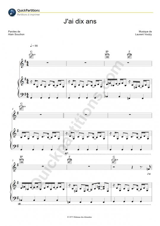 Partition piano J'ai dix ans - Alain Souchon