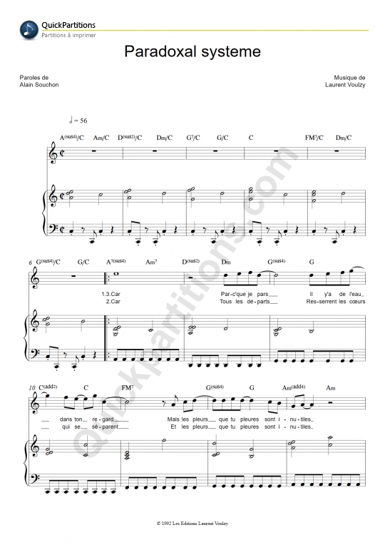 Paradoxal Système Piano Sheet Music - Laurent Voulzy