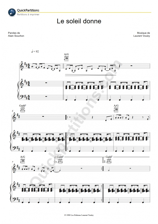 Le soleil donne Piano Sheet Music - Laurent Voulzy