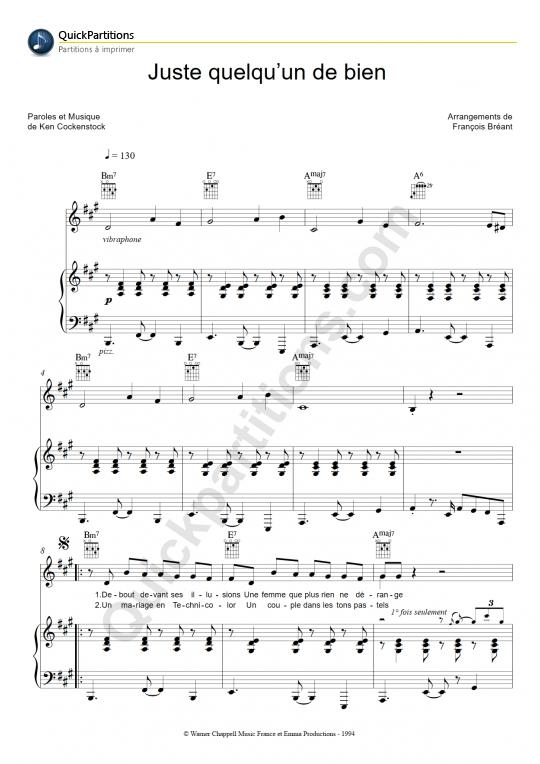 Juste quelqu'un de bien Piano Sheet Music - Enzo Enzo