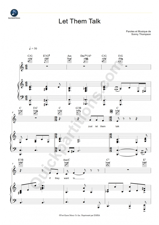 Let Them Talk Piano Sheet Music - Hugh Laurie