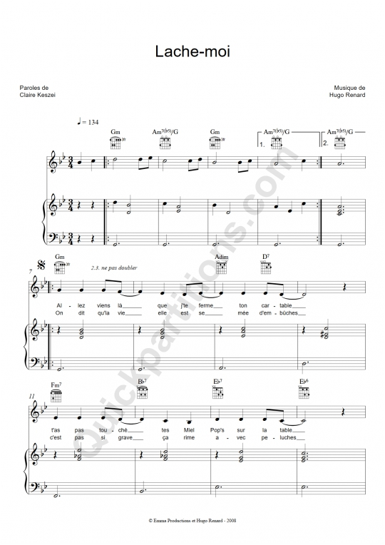Partition piano Lâche-moi - Clarika
