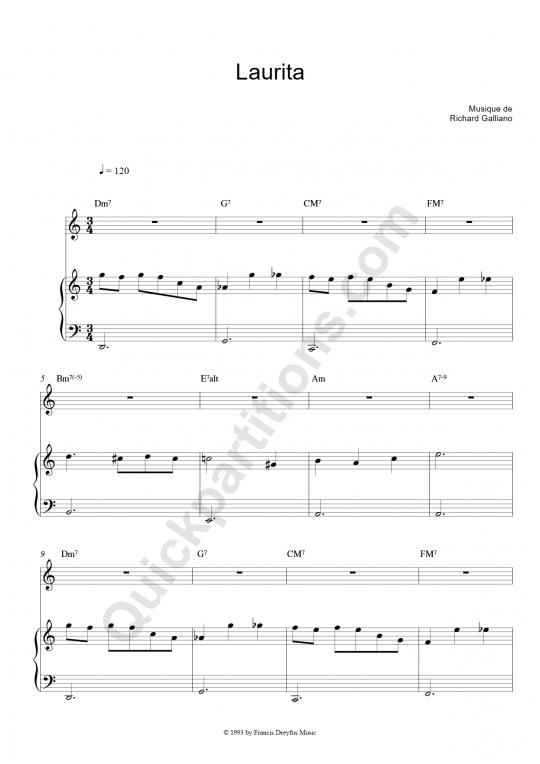 Partition piano et instrument solo Laurita - Richard Galliano
