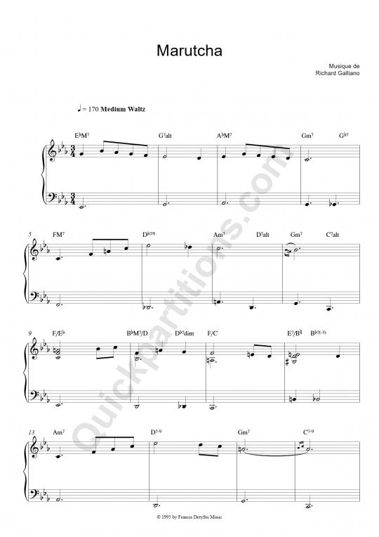 Partition piano et instrument solo Marutcha - Richard Galliano