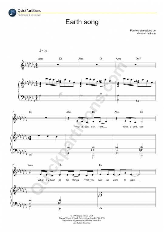 Earth Song Piano Sheet Music - Michael Jackson