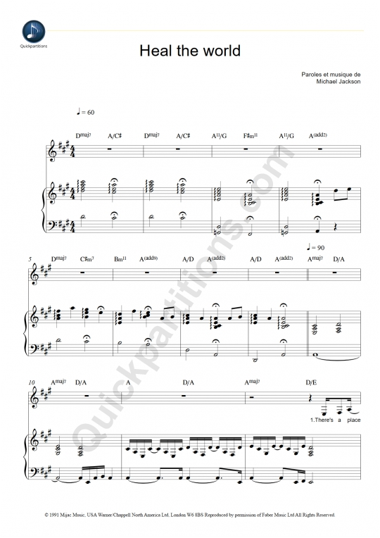 Heal The World Piano Sheet Music - Michael Jackson
