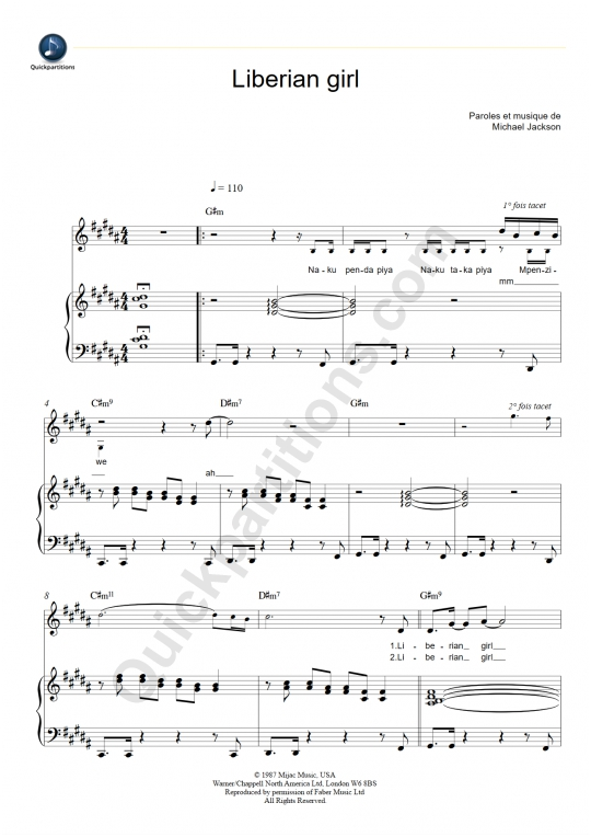 Liberian Girl Piano Sheet Music - Michael Jackson