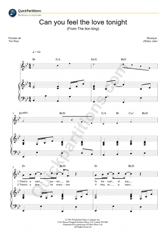 Can You Feel The Love Tonight Piano Sheet Music - Elton John ...