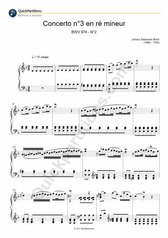 Concerto n°3 en Ré Mineur Piano Sheet Music - Johann-Sebastian Bach