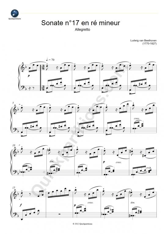 Partition piano Sonate N°17 en Ré mineur (Allegretto) - Ludwig Van Beethoven