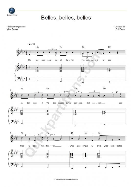 Partition piano Belles, belles, belles - Claude Francois