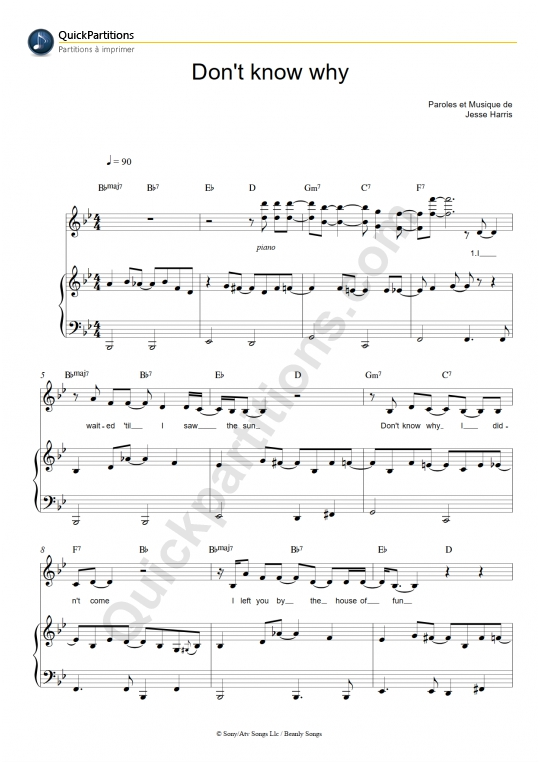 Partition piano Don't Know Why - Norah Jones